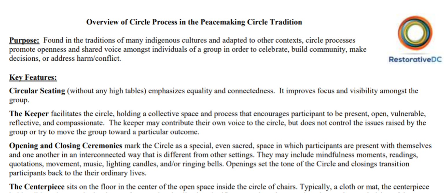 Restorative DC – Overview of Circle Processes