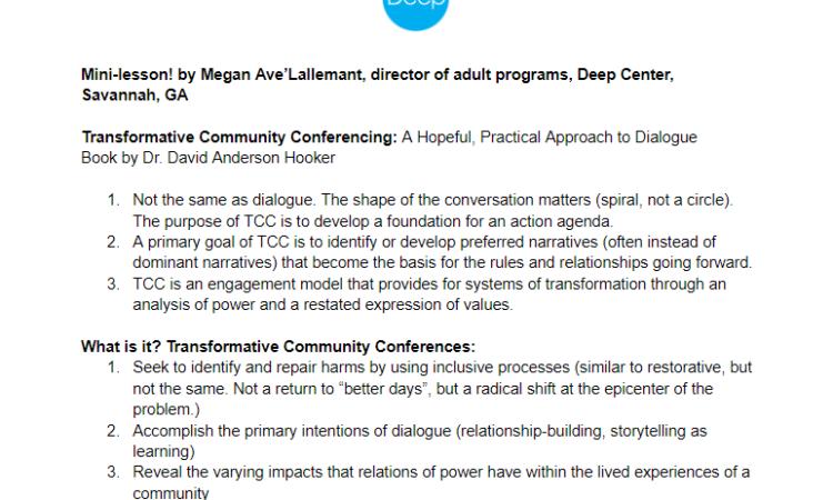 DEEP Center – Mini Lesson on Transformative Community Conferencing