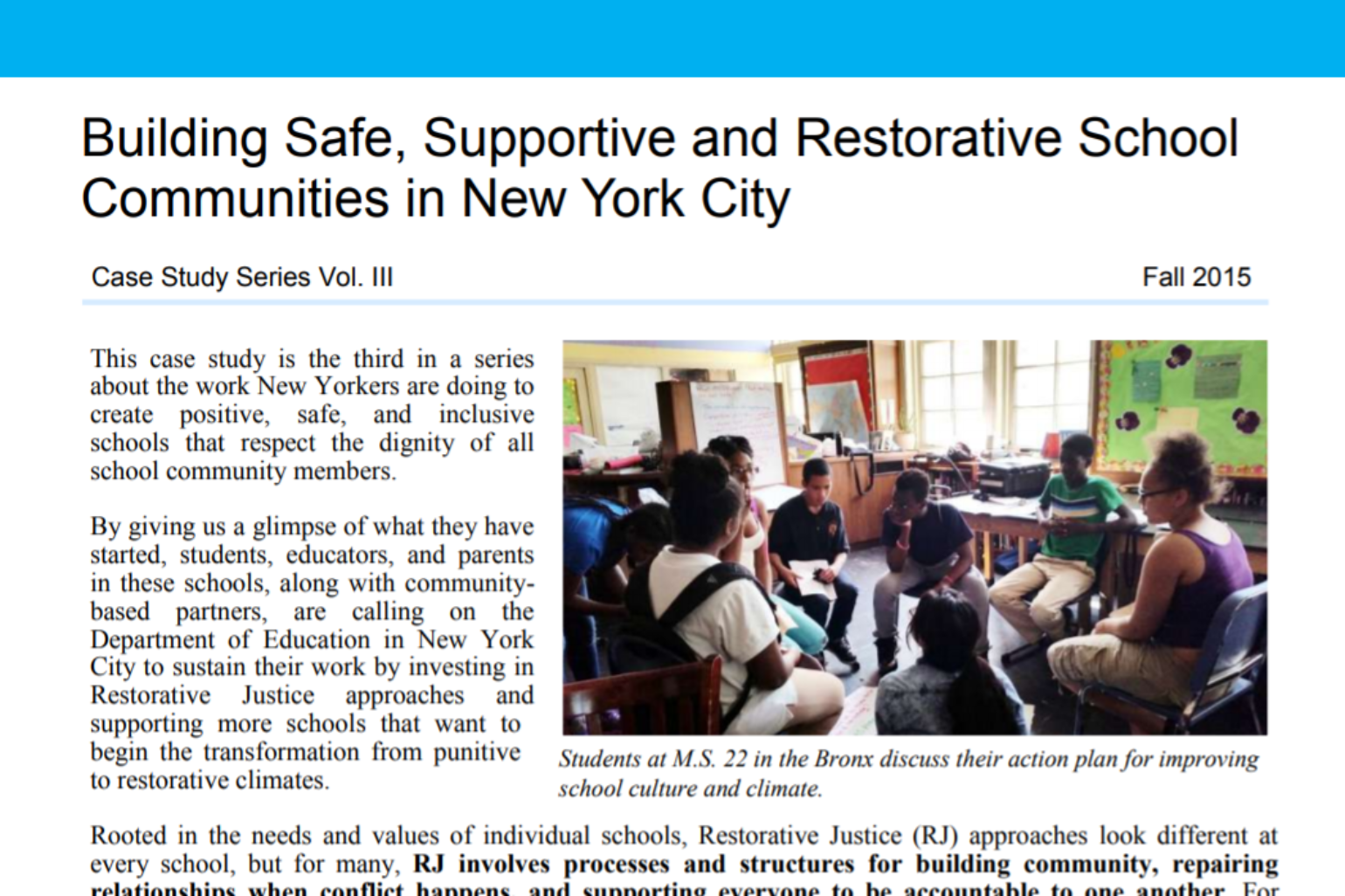 DSC NY- Building Safe, Supportive and Restorative School Communities in New York City, Vol. III
