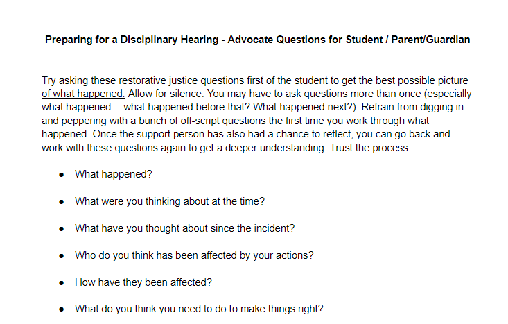 Student Advocacy Center of Michigan – Restorative Questions to Prepare for a Disciplinary Hearing