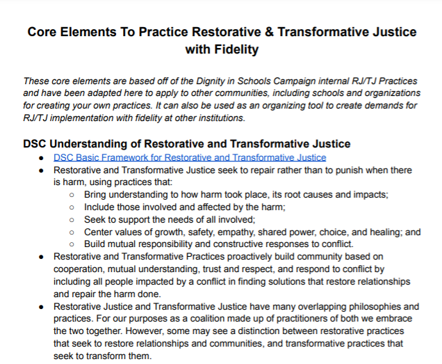 Core Elements To Practice Restorative & Transformative Justice with Fidelity