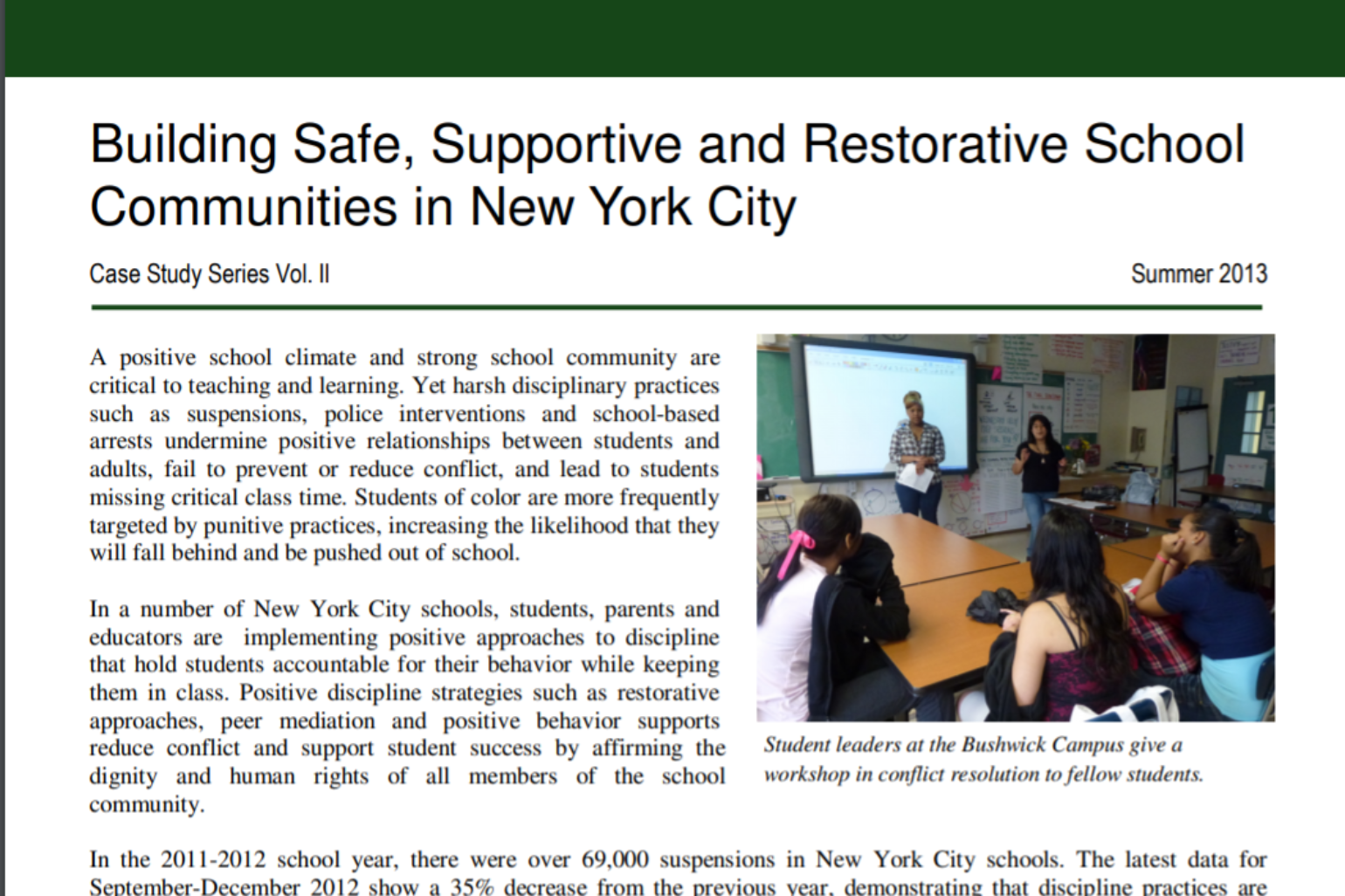DSC NY – Building Safe, Supportive and Restorative School Communities in New York City, Vol. II