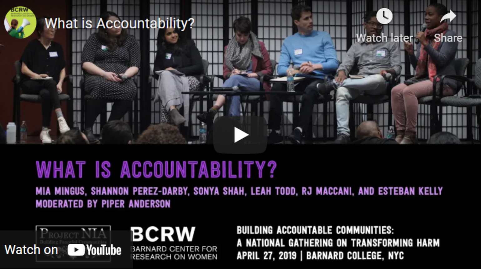 Project Nia – Video: Building Accountable Communities National Gathering