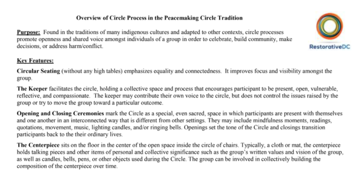 Restorative DC – Overview of Circle Process in the Peacemaking Circle Tradition