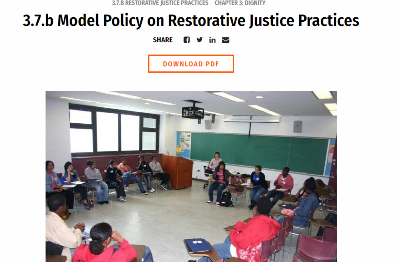 DSC – Model Code: Policy on Restorative Justice Practices